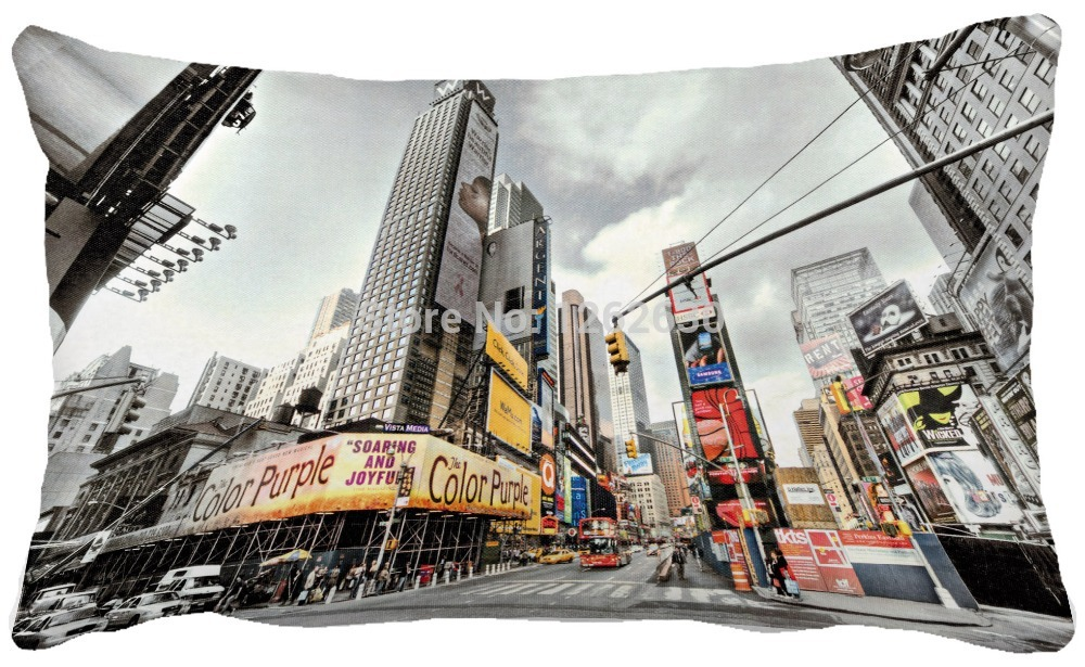 30x50CM A Rectangle Times Square 100% Polyester Sofa Cushion Cover For Home Decoration