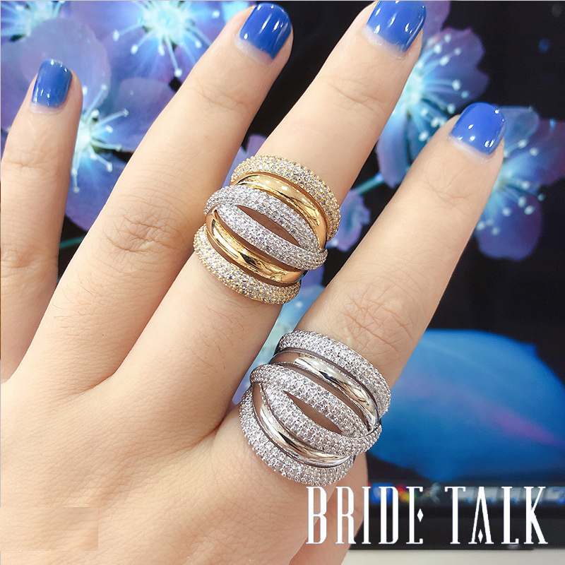 Bride Talk Luxury Women Ring AAA Cubic Zirconia Shiny Crystal Multi-Layered Design Fashion Jewelry For Wedding Party Dating Gift 2