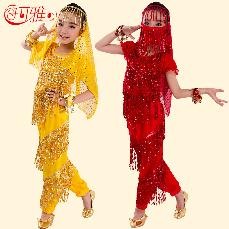 New Children Belly Dance Costumes Kids Sequins Tassel Belly Set Bollywood Indian Dance Dress For Girls With Short Sleeves