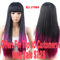 Promotions Ombre Wig Synthetic Wigs For Black Women Long Straight Hair With Bangs African American Wigs Cheap Sale