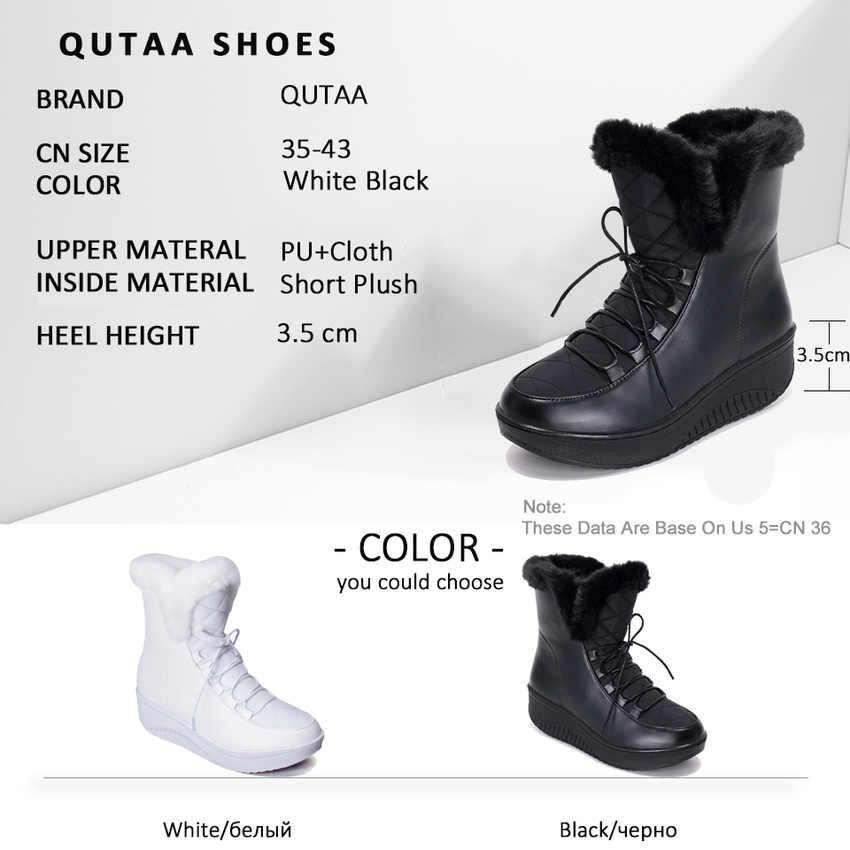 QUTAA 2020 Kış Yüksekliği Artan yarım çizmeler Yuvarlak Ayak Moda Dantel Up Platformu Sıcak Kürk Rahat Kadın Kar Botları Boyutu 35 -43