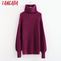 Tangada Winter Purple Sweaters Pullovers Fashion Turtleneck Sweater Women Oversized Pullover Long Jumper Casual Pull Femme 3N04