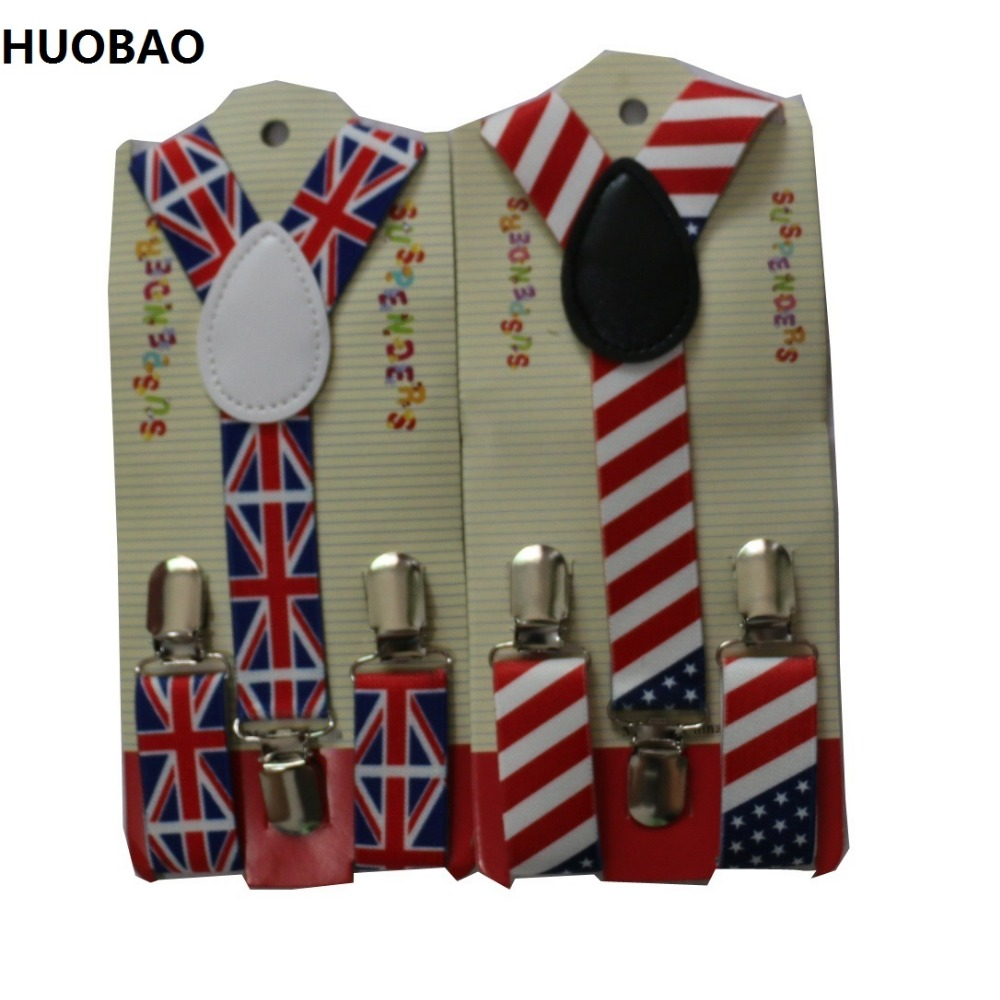 HUOBAO 2019 New Cute Kids Toddle Clip On Adjustable Fashion Flag Braces Suspenders For Baby Boys And Girls