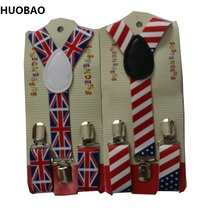 HUOBAO 2017 New Cute Kids Toddle Clip On Adjustable Fashion Flag Braces Suspenders For Baby Boys And Girls