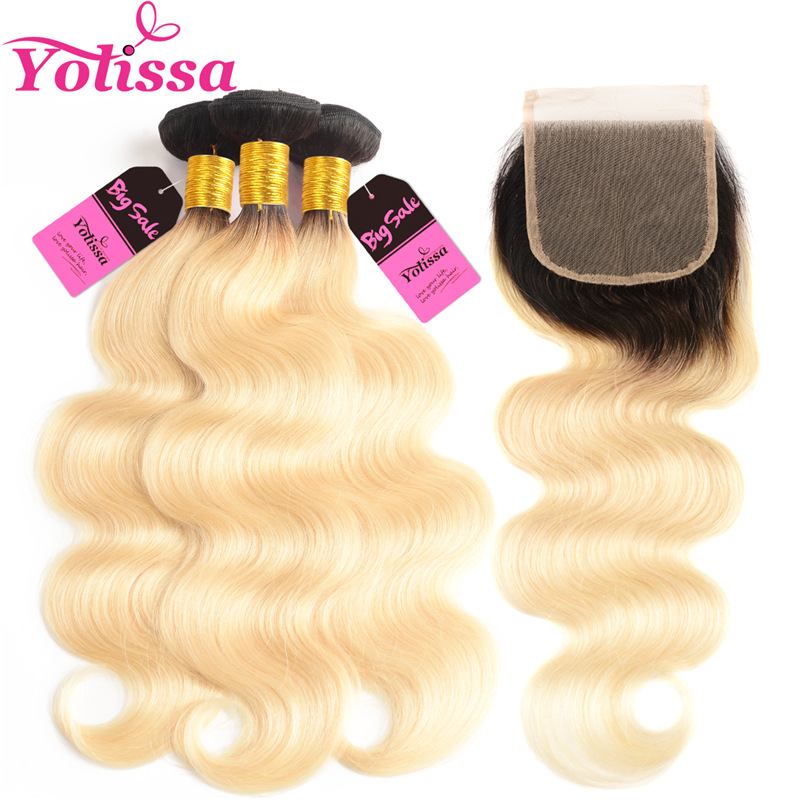 Yolissa Hair T1b/613 Ombre Blonde Bundles With Closure Remy Hair 10-24 Inch dark roots black and blonde bundle image