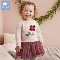 DB5483 dave bella jesień niemowląt baby girl w sukienka sweter z dzianiny sukienka kids fashion party urodziny dzieci księżniczka ubrania