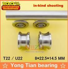 Roulements de poulie à rainure V/U, haute qualité, U22 T22 ABEC-5 8mm 8*22.5*14.5*13.5mm, roulement à billes U-22 TU22
