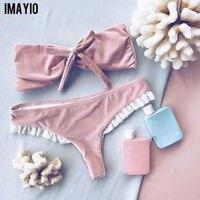 Imayio Velvet Bikini Set Ruffle Flounce Retro Swimwear Women Cute Pink Bow Bathing Suit Triangel Low