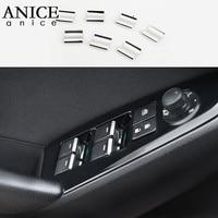 7pcs 스테인레스 스틸 창 리프트 스위치 장식 조각 트림 커버 크롬 Mazda3 mazda6 mazda2 CX-5/CX3/CX5/CX3 적합