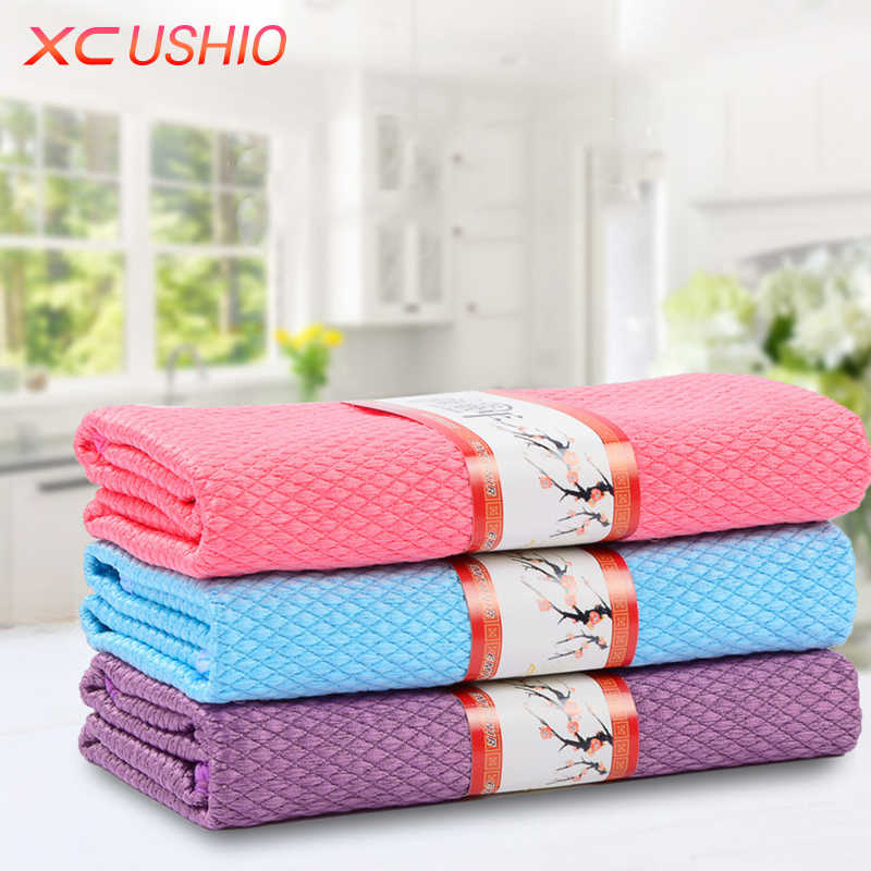 3pcs/lot Household Glass Window Cleaning Cloth Kitchen Absorbent Dishcloth Cleaning Rags Kitchen Washing Towel
