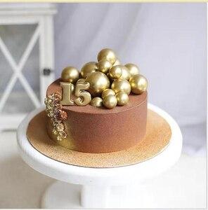 Image 3 - Diy の泡のゴールド/シルバーバルーンケーキトッパーハッピーバースデーカップケーキトップ旗ウェディングパーティーケーキ Deorat ベビー誕生日の装飾
