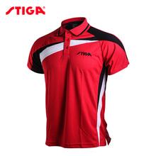100 oryginalny Stiga tenis stołowy ubrania Sportswear szybkie suche Krótki rękaw mężczyzn Koszulka Badminton Sport koszulki tanie tanio Pasuje do rozmiaru Weź swój normalny rozmiar CA-83111