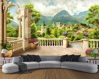 טפטים מותאמים אישית beibehang עמודה רומית מרפסת נוף העיר קיר רקע 3d קישוט בית ציורי קיר רקע טפט 3d
