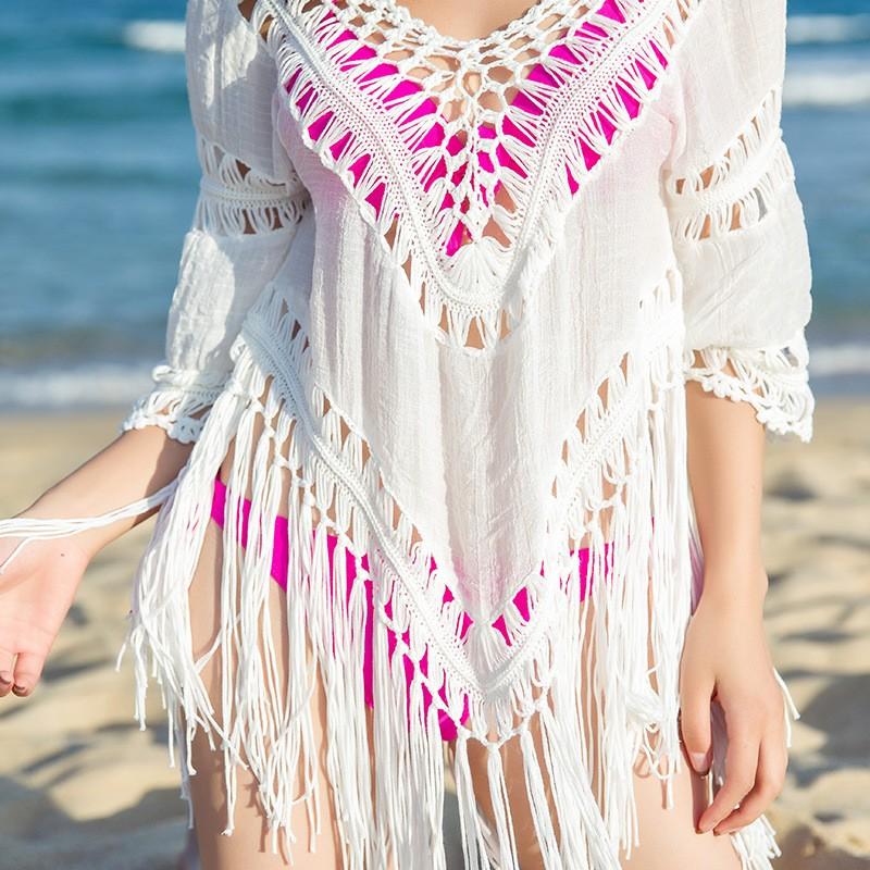 Women Sexy Cover-Ups Cotton Hollow Swimsuit Crochet Swimwear Tassel Bearding Tunic Pareo Swimsuits Beach Wear Bikinis Cover Up 6