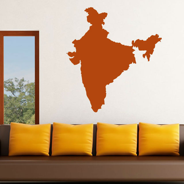 Vinyl india map wall sticker removable living room wall decor sticker decal for sofa background