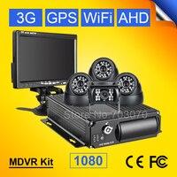 4Pcs CCTV Surveillance IR Camera For Real Time Remote Monitoring 3G GPS Wifi SD Car AHD 1080 Mobile Mdvr Kits +7inch Car Monitor