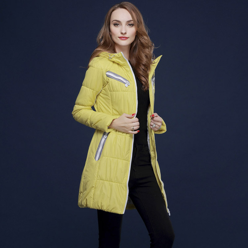 ФОТО spring autumn and winter jacket women slim fashion long parka candy color European brands  young girls thin coats M561