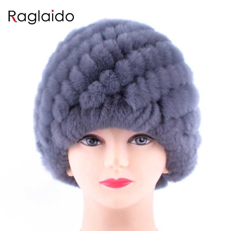 09dc628796d ... Raglaido Rabbit fur hat Women Russian Real Fur Knitted Cap Nice Winter  Warm Beanie Hat 2018fashion ...