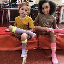 Zestaw skarpet dla dzieci 3 par/partia dziewczynek paski kolana wysoko długo miękkie ciepłe bawełniane skarpety nowe chłopięce dzieci szkoła Meisje Dropshipping