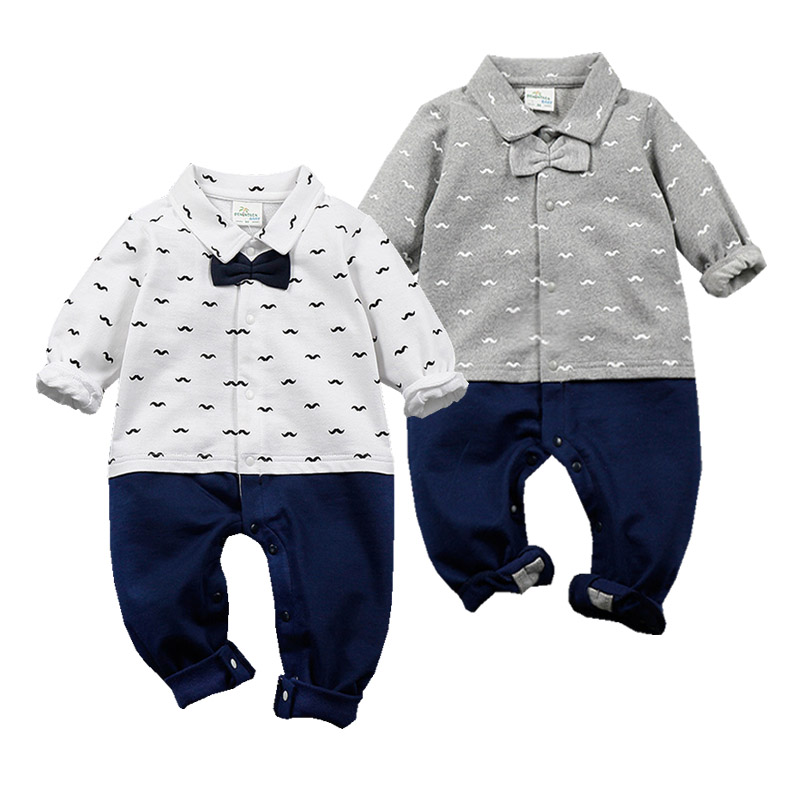Newborn Boy Romper Mustache Printed Infant Baby Boy Cotton Bowtie Uniform Long Sleeve Rompers Jumpsuit Outfit Toddler Clothes puseky 2017 infant romper baby boys girls jumpsuit newborn bebe clothing hooded toddler baby clothes cute panda romper costumes