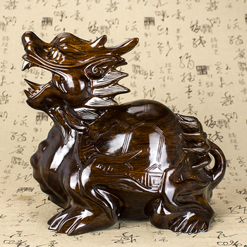HOT SALE -OFFICE home protective-efficacious Protection ZHEN ZHAI Talisman Money Drawing Dragon Turtle rosewood FENG SHUI statue