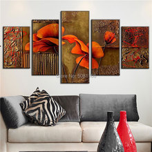 цена на Hand-painted Oil Painting ON Canvas Abstract Flower Painting Red Brown Modular Pictures of The Sitting Room Wall Decoration