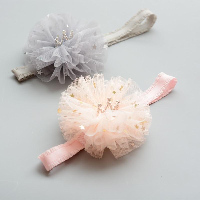 New Pink Crown Flowers Hairbands Girls Headwear Children Headbands Elastic Hair Band Kids Hair Accessories