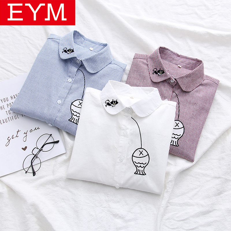 2019 Autumn New Blouses Sweet College Style Long Sleeve Striped Shirt Women Embroidery Kitten Fishing Female Student Shirt Tops