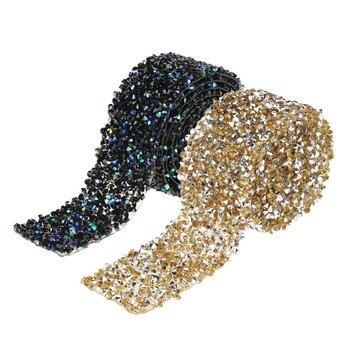 Rollo envoltorio de malla diamante brillante cristal Rhinestone cinta de decoración para bodas diamante malla envoltura hermosa brillante diamante de imitación