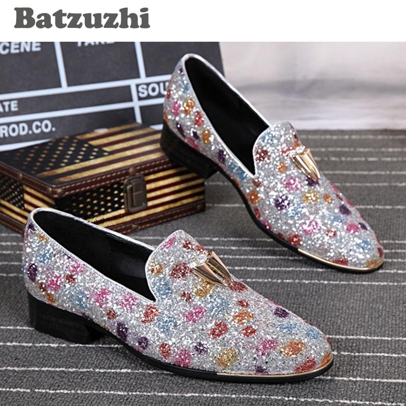 Batzžuhi Naujas stilius Rankomis Vyrai Oda Batai Sequins Round Toe - Vyriški batai