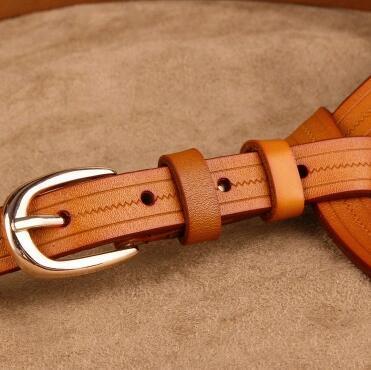 Ремень из натуральной кожи Женщины повседневная джинсы ремни коровьей женщин тонкий украшение ремень моды пряжкой талии поясом брюк