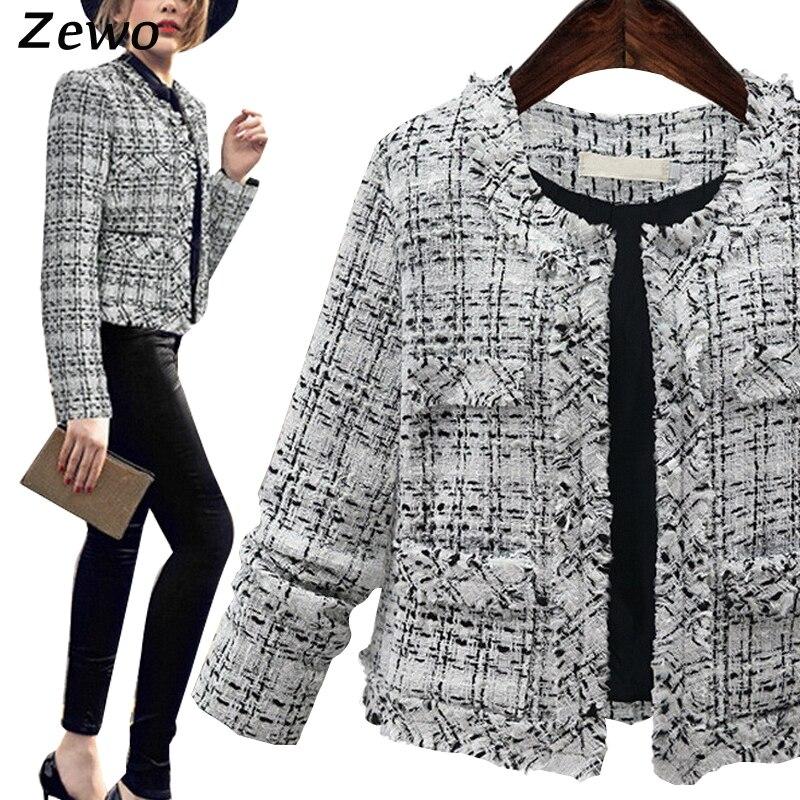 Zewo Otoño Invierno Moda Mujeres Chaqueta de Manga Larga Abrigos Plus Size Elega