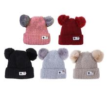 CHINATERA Lovely Autumn Winter Baby Knitted Fashion Soft Hat Two Fur Pompoms Boy Girls Fur Ball Beanie Kids Caps Chirstmas Gifts