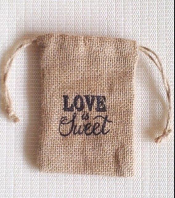 Liebe Ist Suss Hochzeit Sussigkeitstasche Sackleinen Tasche Kordelzug