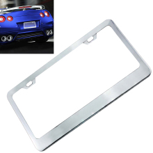 Universal Waterproof Car License Plate Box with Mirror Polished Chrome and 2 Fasteners for Most  Cars