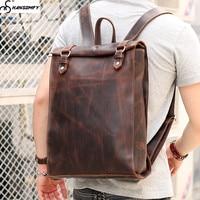 Ретро стереотипы мужской рюкзак ручной работы из натуральной кожи сумка в британском стиле Женские Простые 14 дюймовый ноутбук сумка