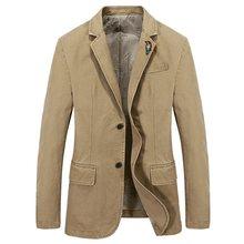 Men Blazer 2019 Spring Autumn Single Breasted 100% Cotton Parka Men's Slim Fit Jackets Royal Bule Plus Size Causal Suit S -XXXXL недорго, оригинальная цена