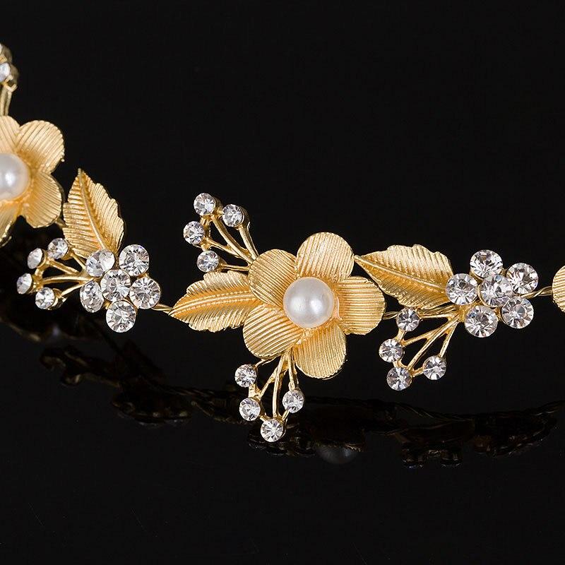 Wedding Bridal Hair Accessories Royal Tiara Silver Plated and Gold Color Metal Leaf Flower Crystal Hair Vine Tiara (3)