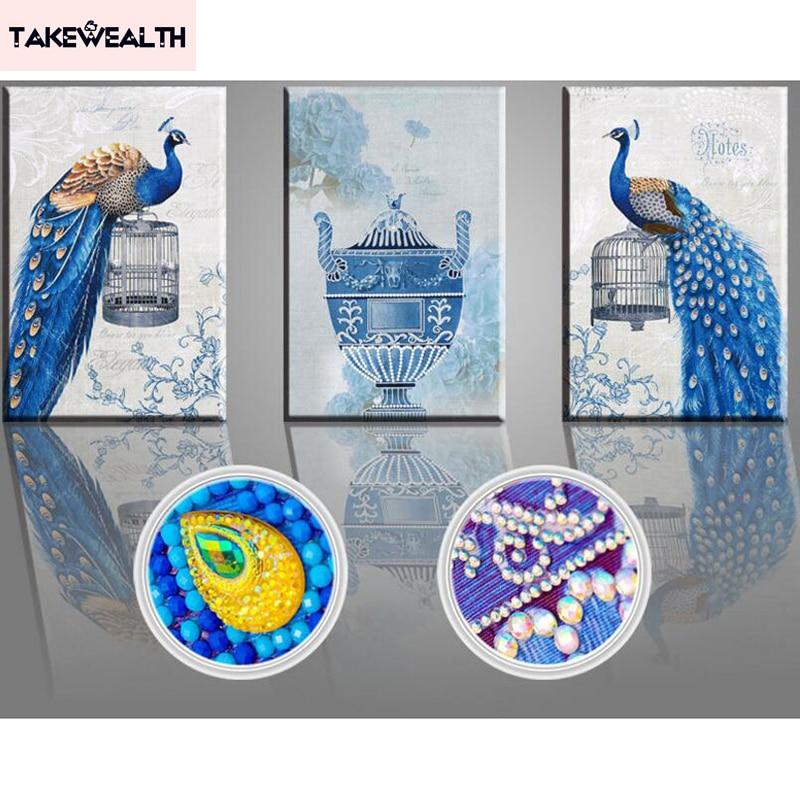 Forme spéciale, broderie diamant, chine, Animal, paon, 5D, peinture diamant, point de croix, 3D, mosaïque diamant, décoration ZL8