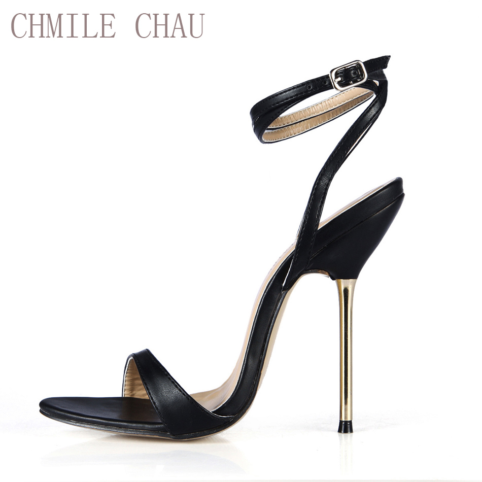 CHMILE CHAU Sexy Party Schuhe Frauen Stiletto High Iron Heels Ankle Strap Damen Sandalen Plus Größen 10,5 Zapatos Mujer 3845-i6