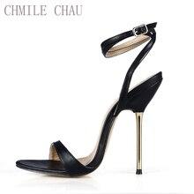 New Women Sandals Sexy Big Sizes High Heels Plain PU Ankle Strap Buckle Open Toe Thin Iron Heel Party Lady Heeled Shoes 3845-i6 недорго, оригинальная цена