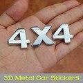 Venta al por mayor Caliente de la Venta 3D de Metal Puro Pegatinas, Universal 4X4 Aleación De Aluminio Emblema de la Insignia Etiqueta Engomada Del Coche 3D decoración Para El Motor de Auto Decal