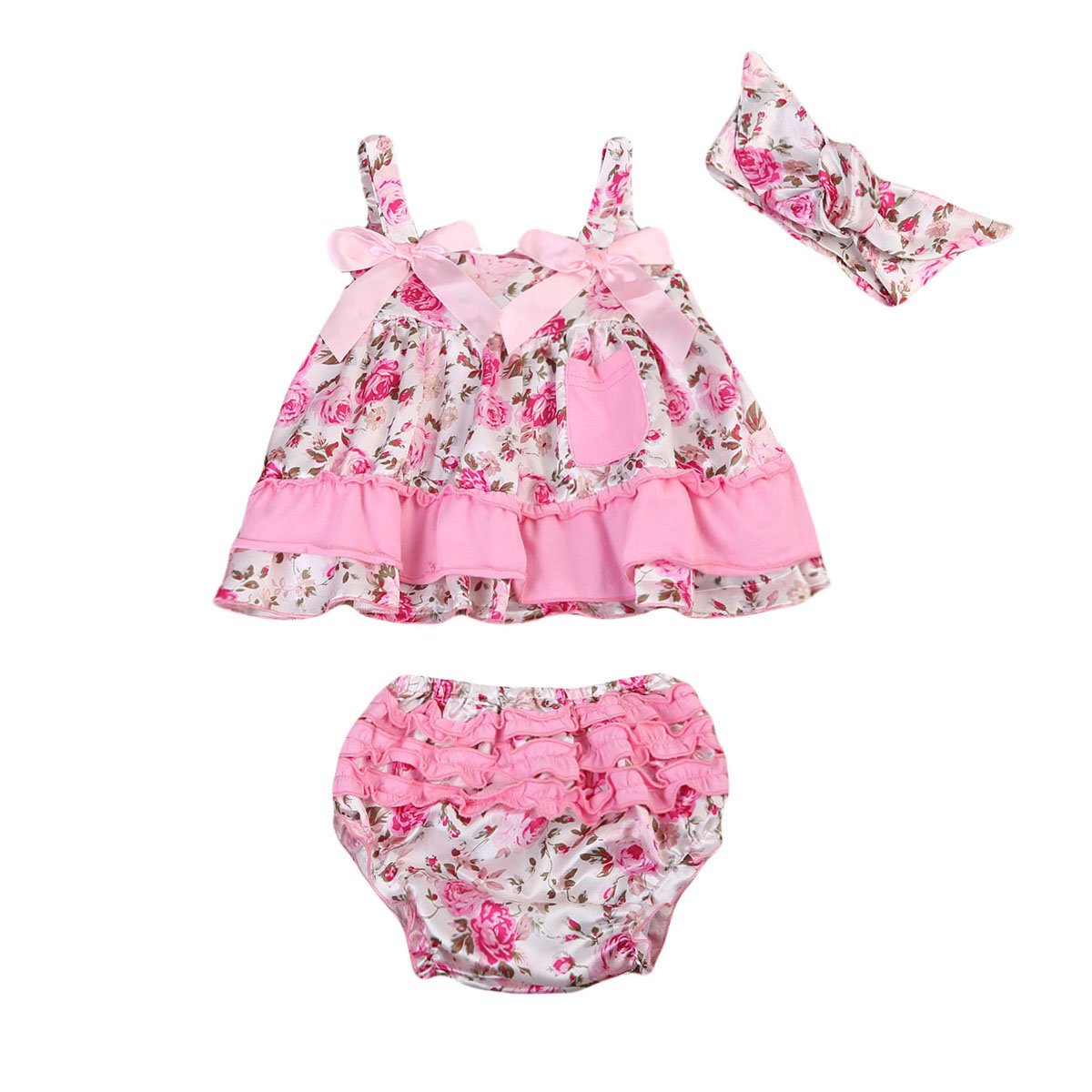 Infant Baby Girls Clothing Set Floral Ruffle Girl Sleeveless Pink Sleeveless Tops Pants Shorts Headband Outfit Clothes 3PCS infant tops pants love pattern headband baby girl outfit set clothing 3pcs kid children baby girls clothes long sleeve
