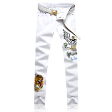 Fashion brand youth popular spring summer cool wolf tribe white trousers mens slim feet pants embroidery flower men clothing