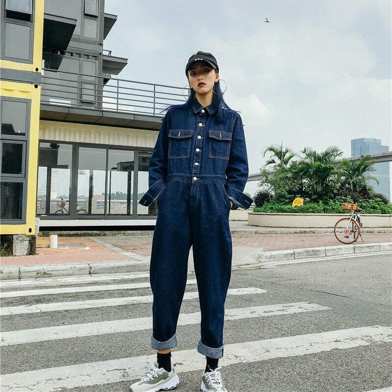 Kadın Giyim'ten Tulumlar'de Ücretsiz Kargo Yeni Moda Safari Tarzı Uzun Kollu Kadın Yüksek Kaliteli Denim Kot Tulum Ve Tulum Artı Boyutu Pantolon S XL'da  Grup 1