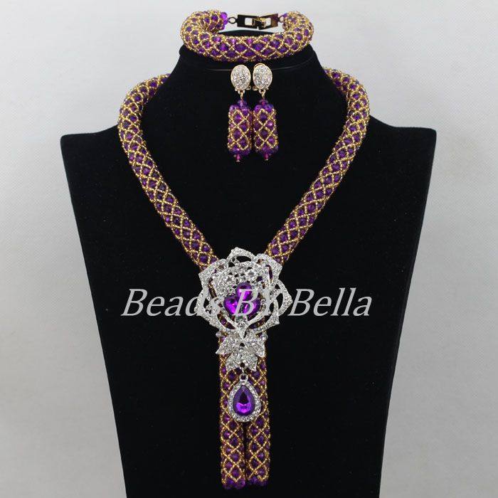 купить Charming Single Row Purple Crystal Beads Necklace Nigerian Wedding African Beads Jewelry Set New Brooch Free Shipping ABF527 онлайн
