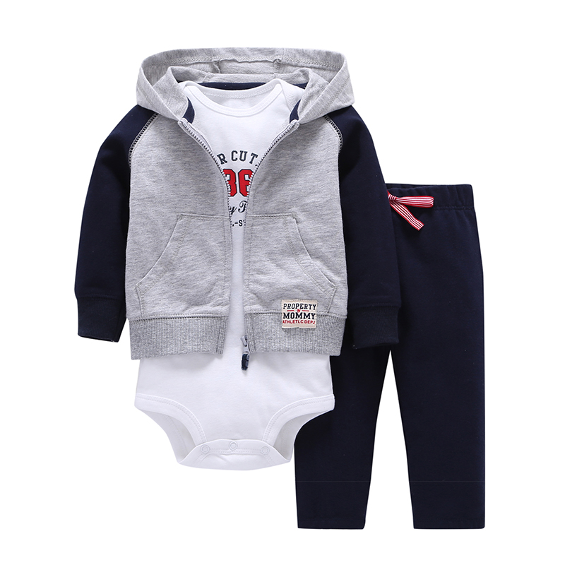 2018 spring baby boy clothes hooded patchwrok coat+letter romper white+pants clothing suit baby girl tracksuits costume