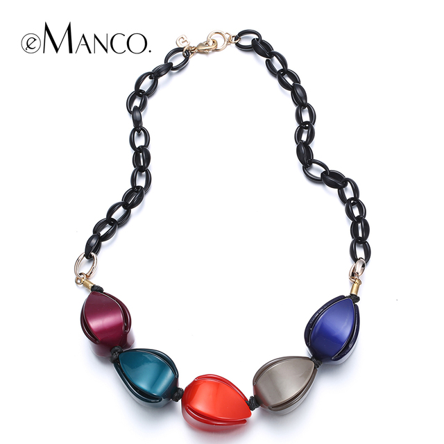 Colorful resin necklaces women statement resin choker necklace simple casual jewelry acrylic choker necklace eManco NL13511