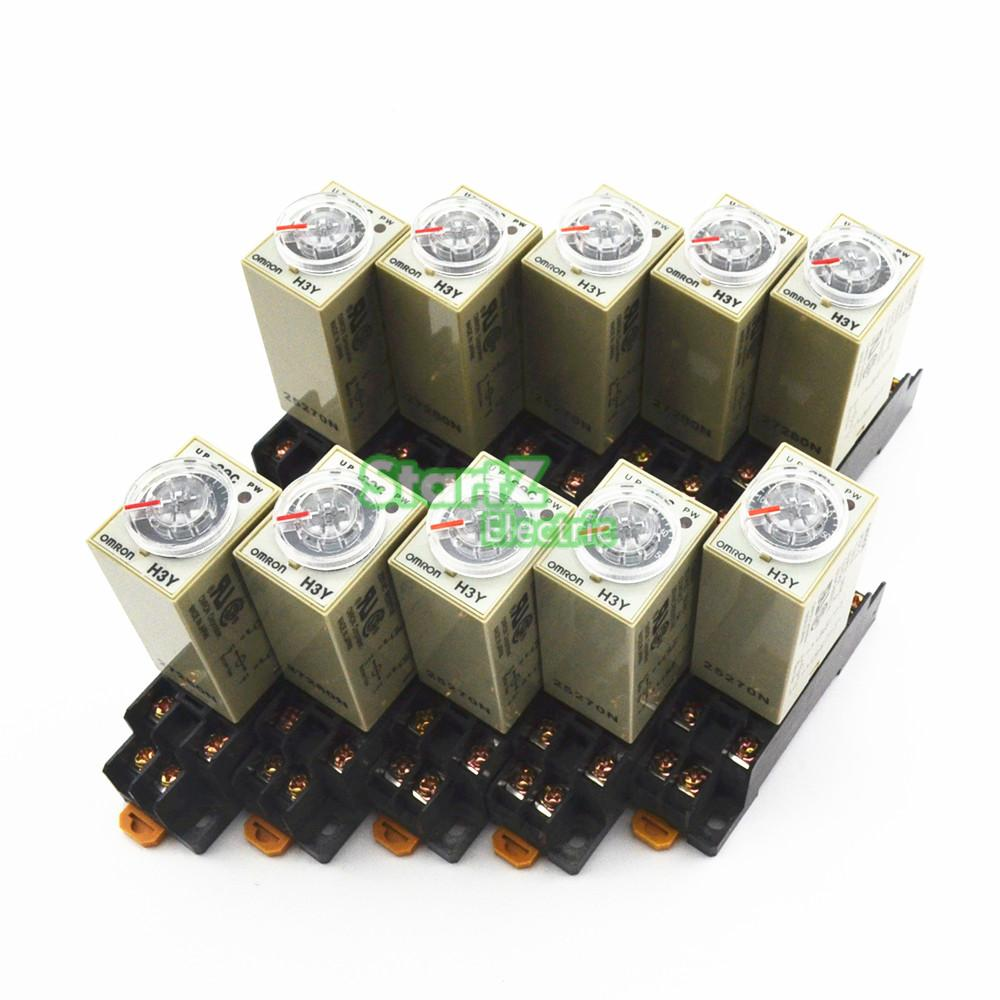 10Pcs H3Y 2 DC 24V Delay Timer Time Relay 0 5 Minute with Base
