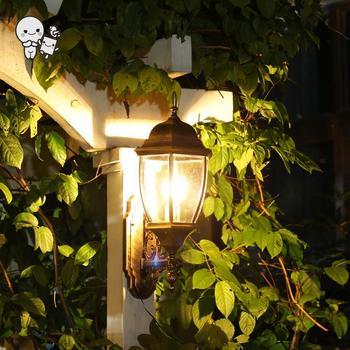 Outdoor Black Copper Aluminum Glass Wall Lamp Fixture Waterproof European Vintage Art Deco Sconce Lighting for Balcony E27 Bulb